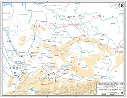 Map with scattered blue lines showing the French army heading east towards Central Europe. The Russians are still moving through Eastern Europe.