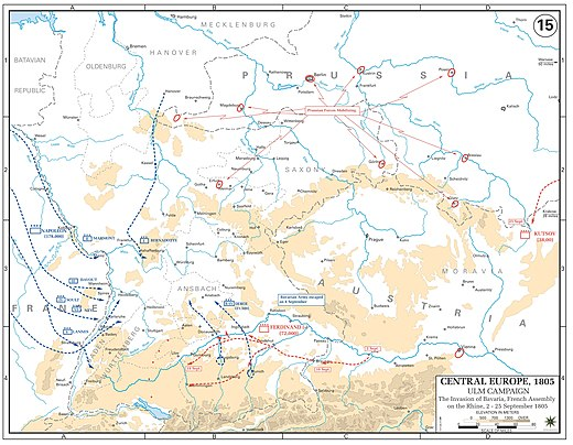 The French concentrated around the Rhine from early to mid-September. 210,000 troops of the Grande Armee prepared to cross into Germany and encircle the Austrians. Ulm campaign - Invasion of Bavaria and French assembly on the Rhine, 2-25 September 1805.jpg