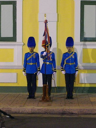 Royal Thai Air Force - Regimental colours guard of Thai air cadet, RTAF, in full dress (royal Guard)