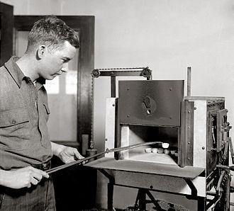 United States Bureau of Mines - United States Bureau of Mines employee conducting a test, circa 1920