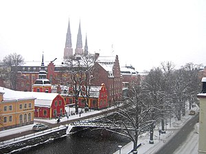 Fyris - The Fyris River in winter as seen from a hotel window in central Uppsala.