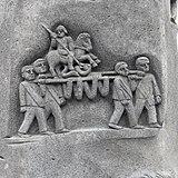 Urmitz, St. Georg - Brunnen von Paul Milles, Detail Schorschjungen.JPG