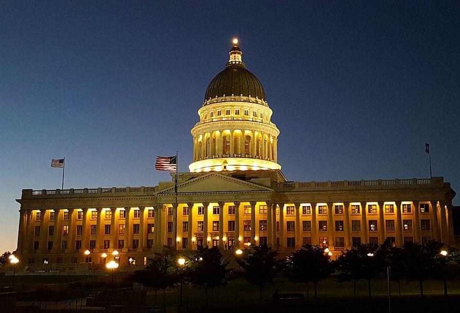 Utah State Capitol at Night July 26 2016