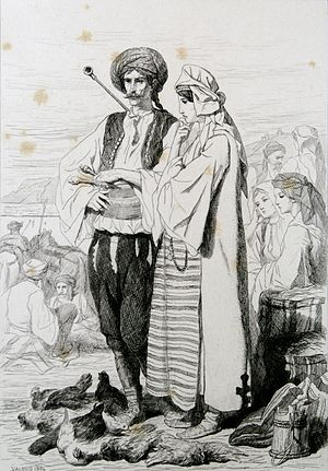 Vlachs in the history of Croatia - Morlachian man and woman from Spalato, Théodore Valerio, 1864.