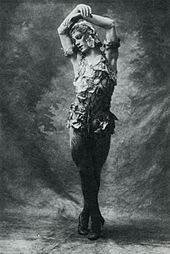 Photo of Nijinsky wearing a rose petal costume