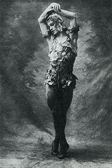 Photo of Nijinsky wearing a rose petal costume