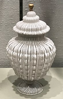 white jar with fine stripes