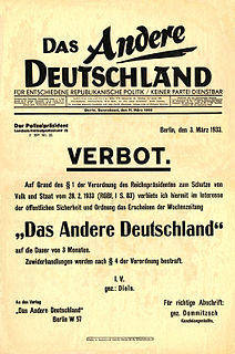 Reichstag Fire Decree Decree in Nazi Germany that abolished key civil liberties for citizens