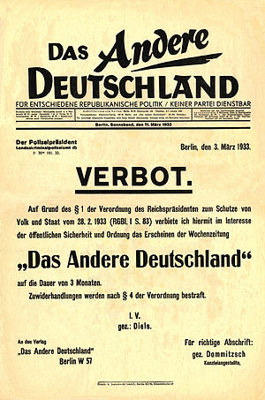 Reichstag Fire Decree - Das Andere Deutschlands final issue, announcing its own prohibition (Verbot) by the police authorities on the basis of the Reichstag fire decree