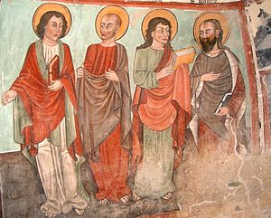 Christian views on poverty and wealth - 15th-century fresco of the Apostles, Turin, Italy