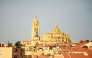 Segovia Cathedral - Overall view of the Cathedral of Segovia, Castilla y Léon, Spain and the surrounding Jewish Quarter of the city (la Judería)