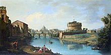 Римская панорама, показывающая в центре арочный мост через реку с куполообразным зданием вдали.  Справа от моста находится большая круглая крепость.