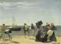 Viggo Johansen - Rejsende fra Anholt på vej fra stranden ud til et afventende sejlskib.png