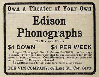 Vim Records - Vim Company Ad – 1903