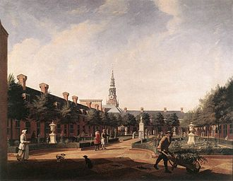 Proveniershuis - painting of the garden in 1735, by Vincent Laurensz van der Vinne II