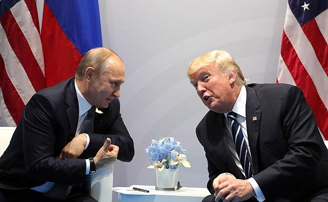 Vladimir Putin and Donald Trump at the 2017 G-20 Hamburg Summit