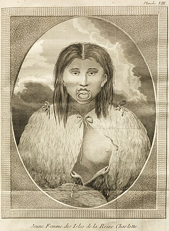 Lip plate - Young Haida woman with lip plate, portrayed in Dixon, George (1789): Voyage autour du monde