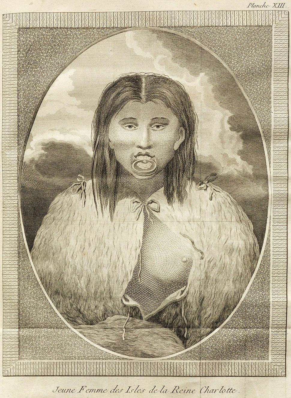 Voyage autour du monde - planche XIII - Jeune Femme des Isles de la Reine Charlotte