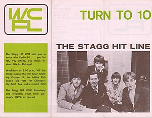 WCFL (AM) - WCFL Sound 10 Survey, October, 1966. Jim Stagg is shown with the Beatles.