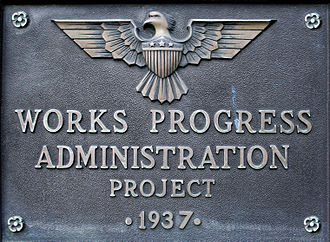 Works Progress Administration - Typical plaque on a WPA project