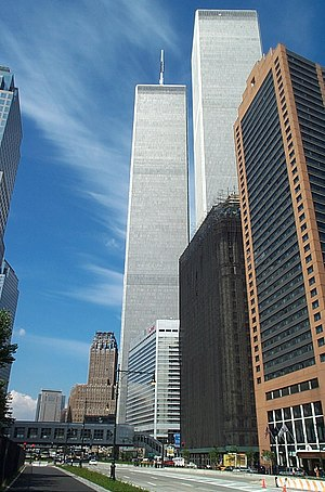 2 World Trade Center - The two original towers; 2 World Trade Center is in the foreground, while 1 World Trade Center is in the background