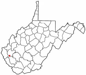 Harts, West Virginia - Image: WV Map doton Harts