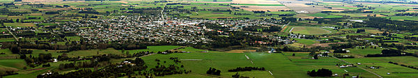 Panorama of the view from the White Horse overlooking Waimate township.