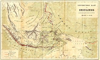 Alfred Russel Wallace - A map from The Malay Archipelago shows the physical geography of the archipelago and Wallace's travels around the area. The thin black lines indicate where Wallace travelled, and the red lines indicate chains of volcanoes.