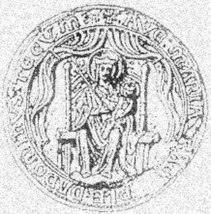 "Our Lady of Walsingham - Ancient seal of the Medieval priory, with the Annunciation text surrounding ""Ave Maria Gratia Plena Dominus Tecum"" in which the present image from Oberammergau was carved"