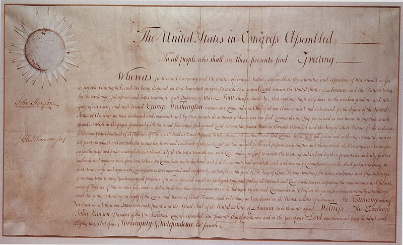 Washington Negotiating Authorization Sept, 1782