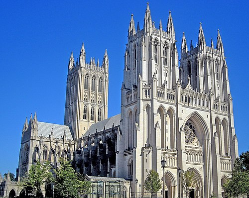 Construction of Washington National Cathedral began in 1907 and was completed in 1990. Washington National Cathedral in Washington, D C 1.jpg