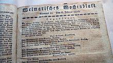"""""""Staatsminister von Goethe"""" erhält für """"wohlgefällige Verdienste um Fürst und Land"""" das Großkreuz des Weimarischen Hausordens. Titelseite des Weimarischen Wochenblatts vom 6. Februar 1816 (Quelle: Wikimedia)"""
