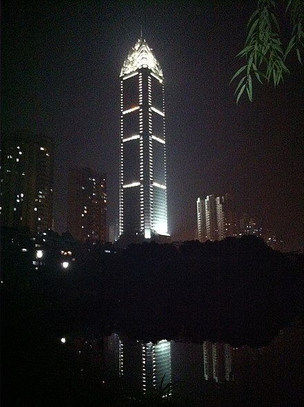 Wenzhou World Trade Center at night