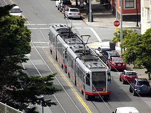 Irving and 4th Avenue station - Westbound N Judah train at 4th Avenue in 2012