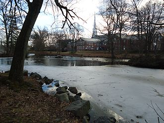 Westfield, New Jersey - Presbyterian Church of Westfield as seen from Mindowaskin Park near the downtown area