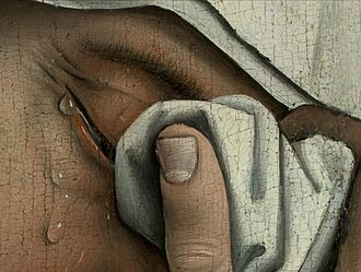 The Magdalen Reading - Detail from Descent from the Cross,  c. 1435. Here van der Weyden portrays the tears and partially visible eyes of Mary of Clopas.