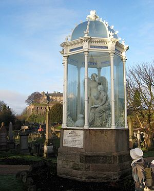 Margaret Wilson (Scottish martyr) - The Wigtown Martyrs Monument in the Old Town Cemetery, Stirling, depicts Margaret Wilson reading the Bible with her young sister Agnes, watched over by a despairing guardian angel.