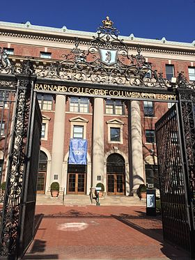 "Front gates, reading ""Barnard College of Columbia University"""