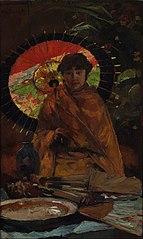 Jeune Femme avec parasol japonais
