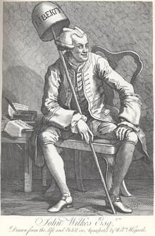 Un'incisione satirica di William Hogarth, che ritrae John Wilkes con una parrucca luciferina, occhi strabici e due edizioni del