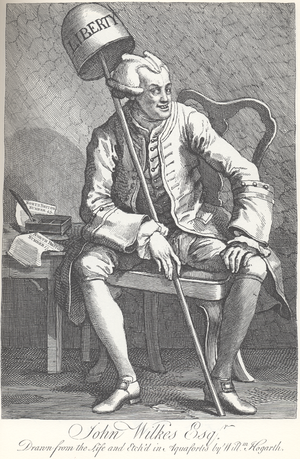 Advocacy group - Satirical engraving of Wilkes by William Hogarth. Wilkes is holding two editions of The North Briton.