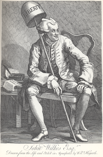 Social movement - Satirical engraving of Wilkes by William Hogarth. Wilkes is holding two editions of The North Briton.