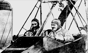 William Thaw II - William Thaw II and Stephen McGordon photographed while flying under the four bridges of New York's East River, October 1915. Mr. Thaw is seated at the left hand steering wheel at the right of the picture.