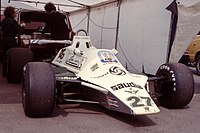 A 1980 Williams F1 car with the Saudia logo of that time