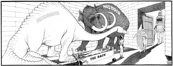 Олицетворением войны в настоящее время под руководством по персонификации времени в тюрьме уже занятую динозавром, мастодонта, и стойку.