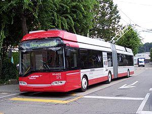 Trolleybuses in Winterthur - Image: Winterthur Solaris Trollino 18