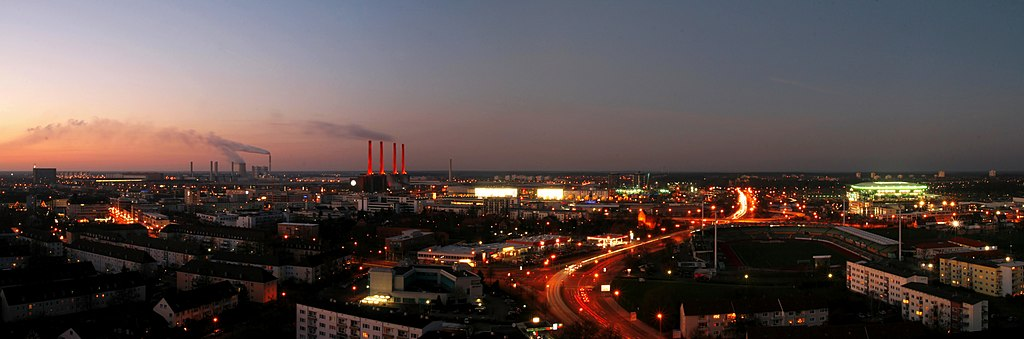 Wolfsburg Germany  city photos gallery : Wolfsburg panorama at dusk, viewed from Schillerteich Center. The red ...