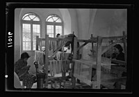 Women's Institute, Jerusalem. One of the weaving rooms, 2 looms LOC matpc.19903.jpg
