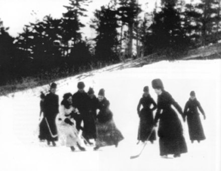 Women playing ice hockey, c. 1888. The daughter of Lord Stanley of Preston, Lady Isobel Gathorne-Hardy is visible in white. Womenplayinghockey.jpg