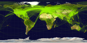 English: Map of scheduled airline traffic arou...